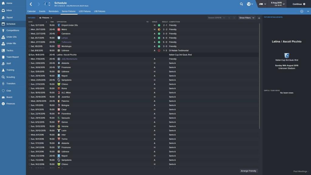 Empoli pre season results